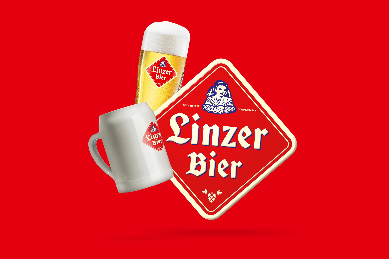 Linzer Bier Krug, Blechschild und Glas